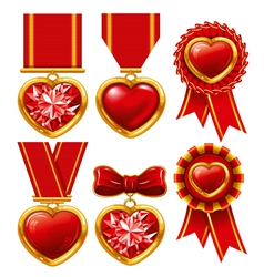Collection of medals in the form of hearts vector