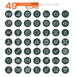 Thin line icons for business interface leisure vector