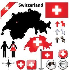 Switzerland map small vector image