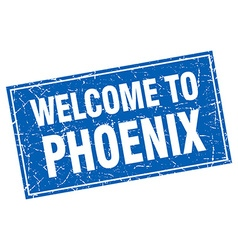 Phoenix blue square grunge welcome to stamp vector