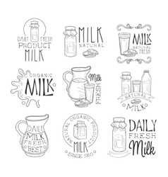 Best organic milk product set of hand drawn black vector