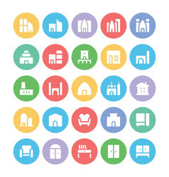 Building and furniture icons 5 vector