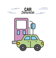 car service station gasoline vehicle transport vector image