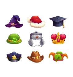 Cartoon different hat icons set vector