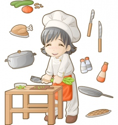 chibi professions sets cook vector image vector image