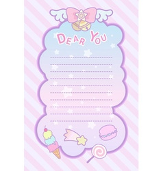 Cute pastel magical lovely ribon and sweet letter vector