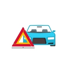 Emergency sign near broken car vector