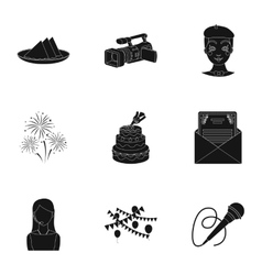 Event service set icons in black style big vector