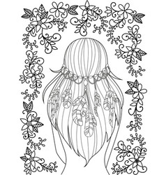 Girl with feathers in her hair and floral pattern vector