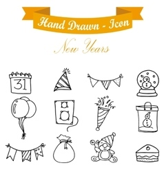 Happy new year icons collection vector