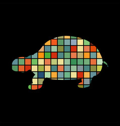 land turtle reptile color silhouette animal vector image