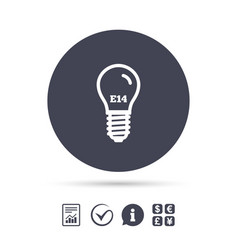 Light bulb icon lamp e14 screw socket symbol vector