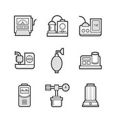 Medical device icon set of operating room vector