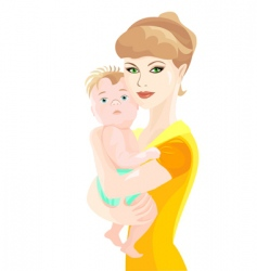mother hugs baby son vector image vector image