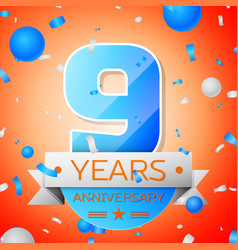 Nine years anniversary celebration vector
