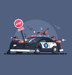 police patrol fires from behind car vector image
