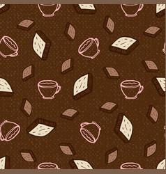 seamless pattern with coffee and chocolate vector image
