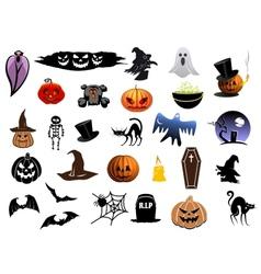 Set of Halloween icons vector image