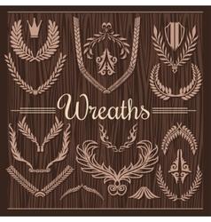 Set of Retro Wreaths for Award Achievement vector image
