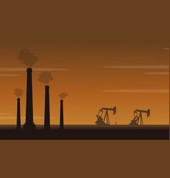 silhouette of pollution industry landscape vector image vector image