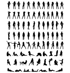 silhouettes of girls vector image vector image