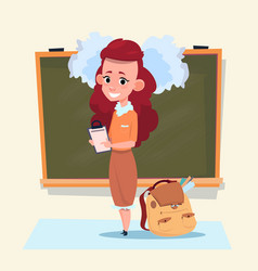 small school girl standing over class board vector image