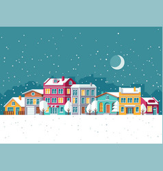 snowfall in winter town with small houses cartoon vector image vector image