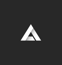 Triangle logo gradient white stripe style sharp vector