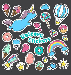 unicorn sweet set of stickers pins patches in vector image vector image