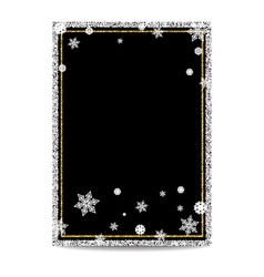 Winter vertical banner template with gold and vector image