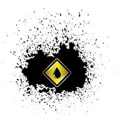 Yellow oil icon on dark blot vector
