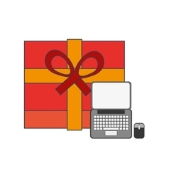 Giftbox and computer icon vector