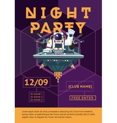 Party poster for night club dj in an astronaut vector