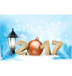 New year 2017 background with winter nature and a vector