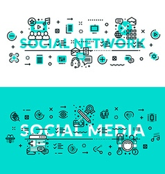 Social media and social network heading title web vector