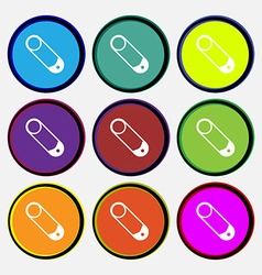 Pushpin icon sign Nine multi colored round buttons vector image