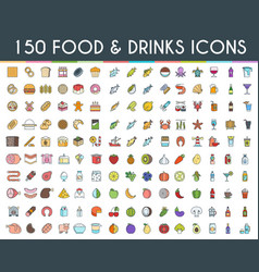 Food and drinks flat line icons vector