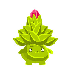 funny sad succulent emoji cartoon emotions vector image
