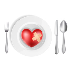 Heart on a plate vector