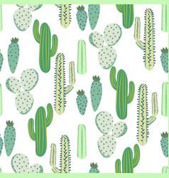 Various cacti desert seamless pattern vector
