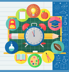Back to school banner with flat icon set on vector