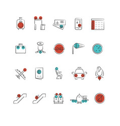 Aviation or airport outline icon collection vector