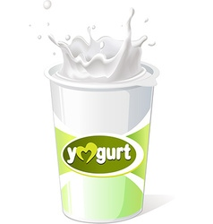 Yogurt and green grass vector