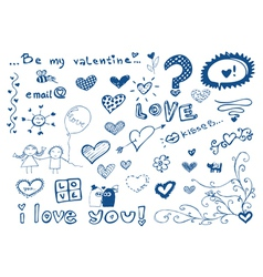 Freehand elements with love doodles set vector