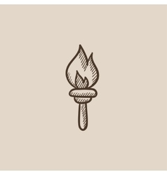 Burning olympic torch sketch icon vector
