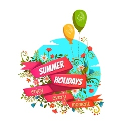 Red ribbon with summer vector