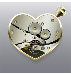 Metal steampunk heart with gears vector