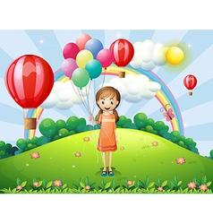 A girl holding balloons vector