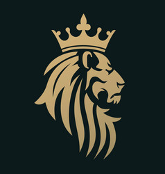 a golden lion with a crown vector image vector image