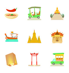 Attractions of thailand icons set cartoon style vector